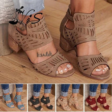 将图片加载到图库查看器,Nis Women Fashion Chunky Heel Sandals Hollow Out Platform Sandals Buckle Strap Sandals Casual Peep Toe Summer Shoes