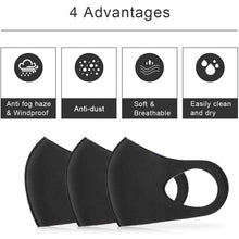 Load image into Gallery viewer, 3Pcs Black Mouth Mask Outdoor Fashion Anti-Dust Cotton Unisex Face Mask Respirator Winter Warm Mouth Mask