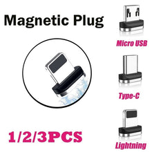 Load image into Gallery viewer, 1/2/3Pcs Magnetic Micro USB Type C Apple Cable Plug