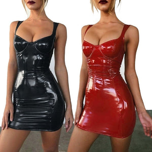Women Latex Faux Leather Bodycon Mini Dress 2019 Autumn Sleeveless Strap Sexy Club Dress vestido Plus Size S-3XL