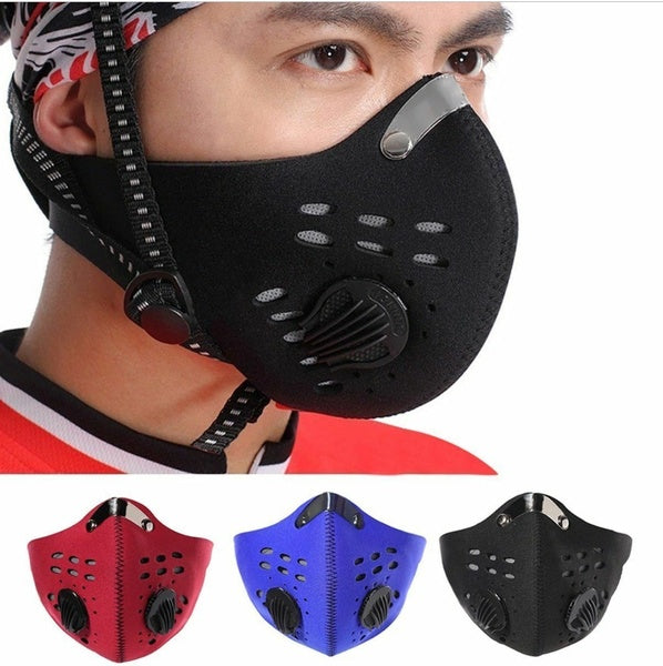 Dust Mask Mouth Mask with Filters Washable Reusable Cycling Running Face Mask