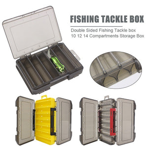 10/12/14 Compartments Double Sided Fishing Tackle Box Bait Lure Hook Storage Box