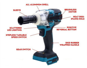 18V Brushless Impact Wrench 520N.m 1/2 Inch Electric Wrench Drill Tool [No Battery]
