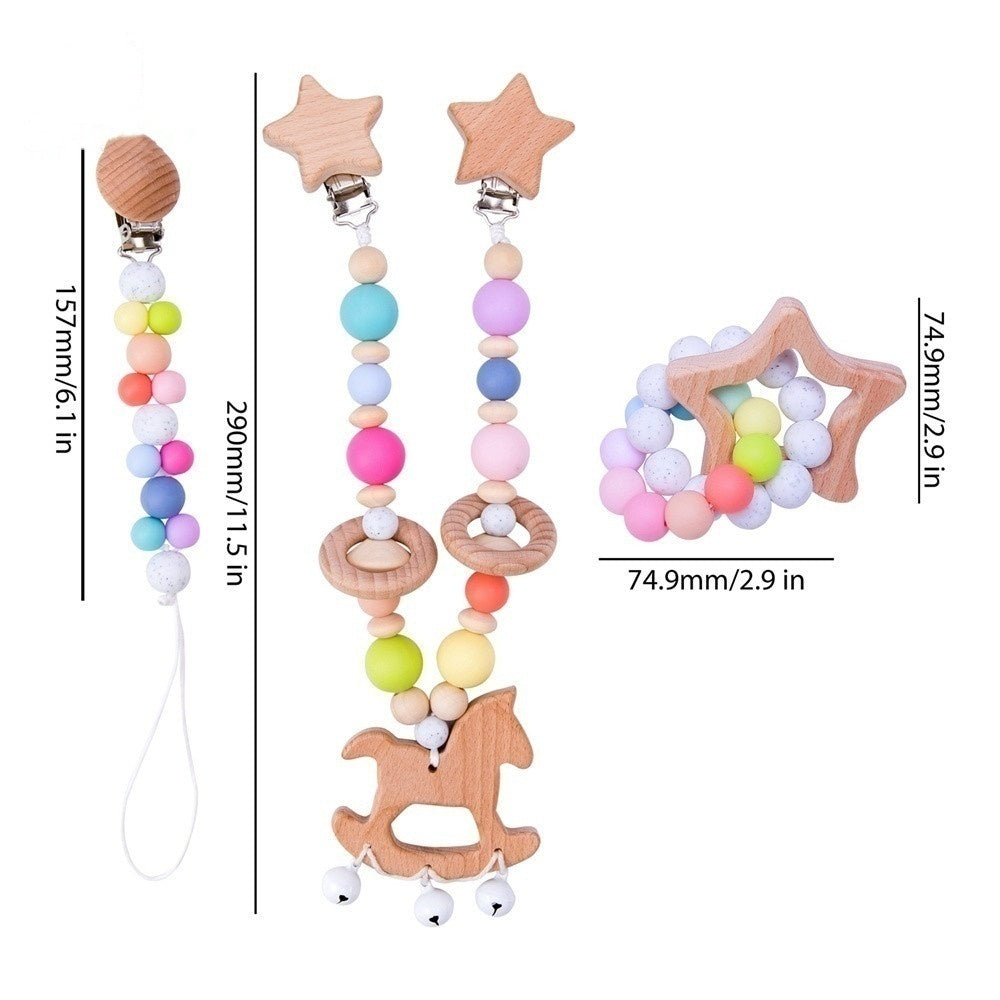 1PC/2PC/3PC/1 Set Baby Mobile Toy Teether Pacifier Wooden Rattle Rodent Nursing Bracelet Baby Stroller Decor Crib Trolley Accessories