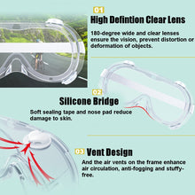 Load image into Gallery viewer, Medical Safety Goggles PC Transparent Lens Goggles Fully Enclosed Eye Protective Glasses Anti-Fog Antisand Dust Resist UV Light