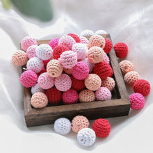将图片加载到图库查看器,10pc 20mm Crochet Beads Baby Teether Knitting Beads DIY Pacifier Chain Necklace Accessories Wood Rodent Newborn Toy