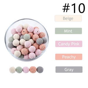 10pc 20mm Crochet Beads Baby Teether Knitting Beads DIY Pacifier Chain Necklace Accessories Wood Rodent Newborn Toy