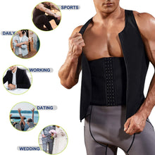 Load image into Gallery viewer, Men Neoprene Sweat Sauna Vest Workout Waist Trainer Slimming Tank Top Fat Burner for Weight Loss