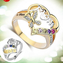 Load image into Gallery viewer, 925 Silver Heart Rings for Mom and Grandma Diamond Jewelry Mother Day's Best Gifts Rings Size 6-10