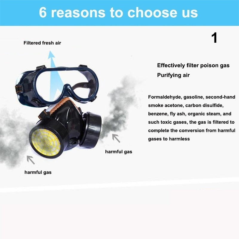 Double tank gas mask, two-piece protective mask, gas mask, spray-painted protective formaldehyde, mp2.5