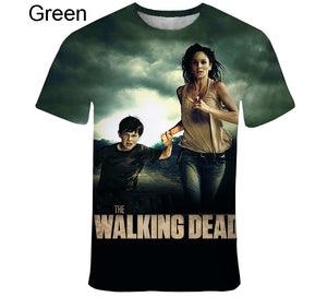 Fashion Casual The Walking Dead Short Sleeve Creative Digital Collar 3D T-Shirt