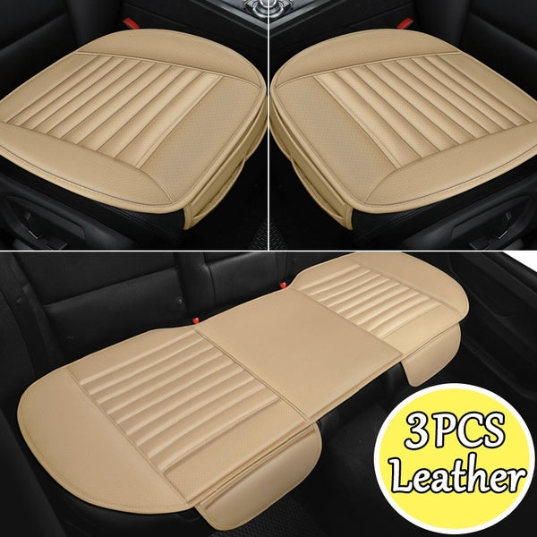 1/2/3Pcs Universal Car Front&Rear PU Leather Seat Cover Mat Breathable Bamboo Cushion Car Protect Cover Fits For Four Seasons