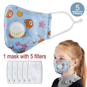 Kids Cotton PM2.5 Anti-smog Anti-Dust, Smoke, Gas and Allergies Adjustable and Reusable N95 Masks Activated Carbon Mask Protection with Different Filters