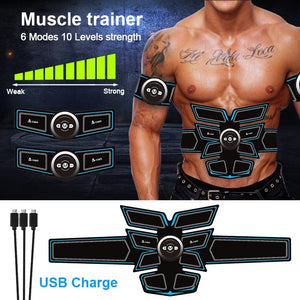 A-TION Professional EMS Muscle Trainer, 8 Pads Abdominal Muscle Training Gear Body Shaping Equipment for Men & Women (6 Types Optional)