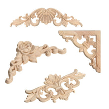 Load image into Gallery viewer, 1pc Wood Carved Corner Onlay Applique Frame Decor Furniture Craft Unpainted Home Wooden Figurines Decorative