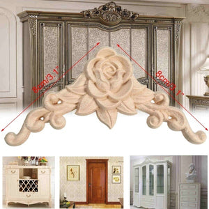 1pc Wood Carved Corner Onlay Applique Frame Decor Furniture Craft Unpainted Home Wooden Figurines Decorative