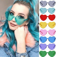 将图片加载到图库查看器,Love Heart Shape Sunglasses Women Rimless Frame Tint Clear Lens Colorful Sun Glasses Red Pink Yellow Shades