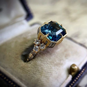 Vintage 18k Yellow Gold Natural Gemstone Aquamarine Ring Women Wedding Engagement Fine Jewelry