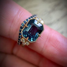 Load image into Gallery viewer, Vintage 18k Yellow Gold Natural Gemstone Aquamarine Ring Women Wedding Engagement Fine Jewelry