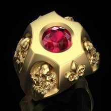 Load image into Gallery viewer, Luxury Fashion Gold Ring Jewelry Accessories Gothic Men's 18K Gold Death God Ruby Ocean Flower Engagement Diamond Ring Exquisite Jewelry Valentine's Day Gift Men's Ring Gift for Boyfriend Husband