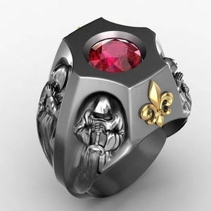 Luxury Fashion Gold Ring Jewelry Accessories Gothic Men's 18K Gold Death God Ruby Ocean Flower Engagement Diamond Ring Exquisite Jewelry Valentine's Day Gift Men's Ring Gift for Boyfriend Husband