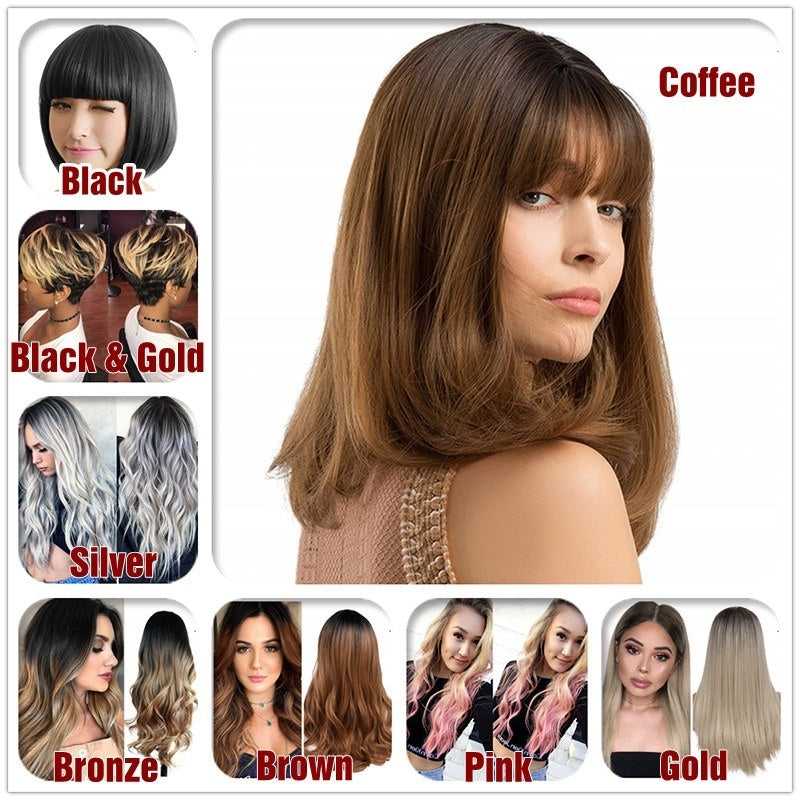 8 Styles Straight Wigs Women Gradient Big Wavy Curly Fashion Ladies Mixed Color Hair Synthetic High Temperature Silk COSPLAY Party Wig