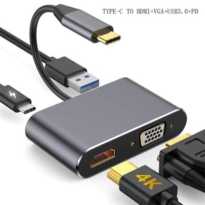 4 In 1 USB C HDMI Type C To HDMI 4K Adapter VGA USB3.0 Audio Video Converter