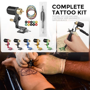 2020 Newest!!! Complete Tattoo Kit Rotary Tattoo Machine Cartridge Grip Grommets Nipples Professional Tattoo Machine Supply Kit for Body Art Beginners, Learners, Tattoo Artists