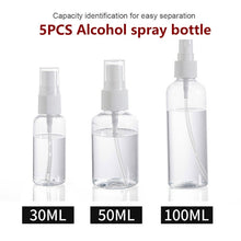 Load image into Gallery viewer, 5pcs Disinfectant Spray Bottle 30ml 50ml 100ml Refillable Mini Perfume Spray Bottle Empty Cosmetic Containers
