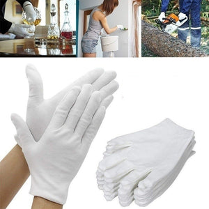 12/24 PCS Multi- function White Cotton Gloves Working Protective Gloves Dust proof Full Finger Men Women Absorption Gloves Hands Protector