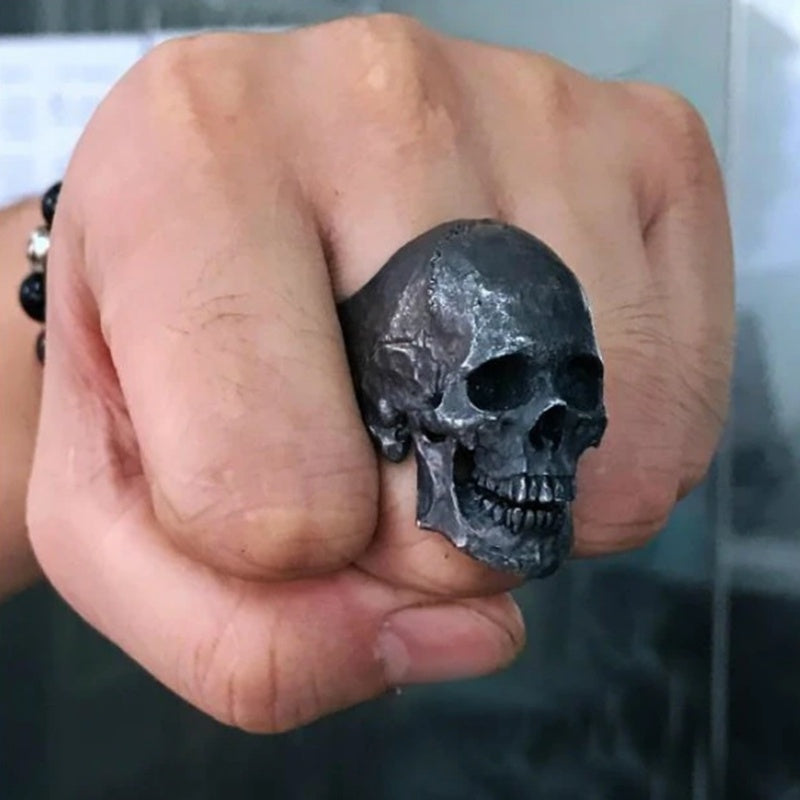 Cool Boy Vintage 316L Stainless Steel Gothic Skull Ring Fashion Punk Men's Party Biker Jewelry