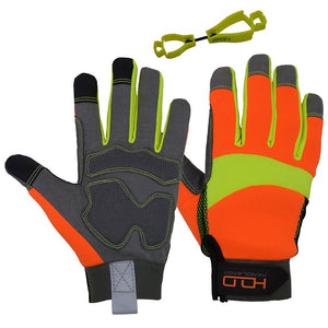 HANDLANDY Hi-vis Reflective Work Gloves, Anti Vibration Safety Gloves, Touch Screen, Orange Flexible Spandex Back  (XXL, Hi-Vis Yellow Orange)