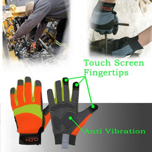 将图片加载到图库查看器,HANDLANDY Hi-vis Reflective Work Gloves, Anti Vibration Safety Gloves, Touch Screen, Orange Flexible Spandex Back  (XXL, Hi-Vis Yellow Orange)
