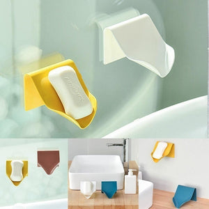 Practical Suction Wall Mount Type Soap Drain Rack Bathroom Soap Box Soap Holder