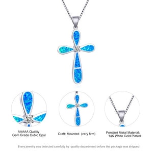 New Fashion Women's Blue Fire Opal Cross Pendant Necklace 925 Sterling Silver Diamond Cz Bridal Wedding Necklace Jewelry Gifts