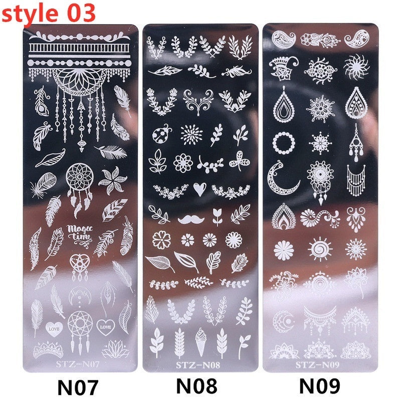 3pcs/set DIY Nail Art Stamp Nail Stamping Template Christmas Snowflake Flower Geometry Animals Nail Designs Manicure Image Plate Stencil