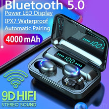 Load image into Gallery viewer, 2020 New 9D HiFi Bluetooth 5.0 CVC8.0 Noise Reduction Stereo Wireless TWS Bluetooth Headset LED Display Headset Waterproof Dual Headphones with Power Bank Chagring Case (Monaural Version 100/1200mAh or Led Binaural Version 4000mAh)