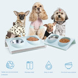 2 Sizes Double Dog Bowl Pet Feeding Bowls Stainless Steel Splash-proof Pet Feeder