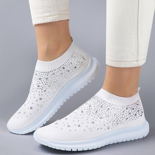 Women Crystals Sneakers Comfy Sport Running Shoes Sparkly Trainers Breathable Mesh Tenis Feminino
