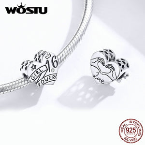 Wostu Silver 925 Bead for Making Jewelry S925 Sterling Silver Crystal Heart Charm Fit Diy Bracelet