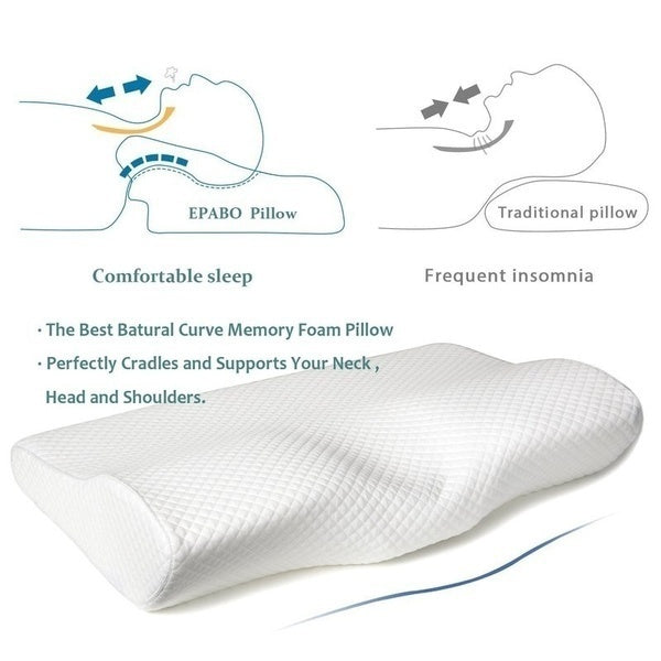White/Rose red Super Soft Memory Foam Pillow Orthopedic Cervical Contour Pillow For Anti-Snoring, Neck Pain Relief, Soft Slow Rebound Pillow With Washable Pillow Cover Normal/Upgrade Version