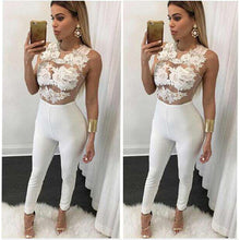 将图片加载到图库查看器,Newest 2020 Women Playsuit Party Jumpsuit Hollow Out Romper Long Trousers Pants Clubwear Lace Sleeve Jumpsuit