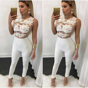 Newest 2020 Women Playsuit Party Jumpsuit Hollow Out Romper Long Trousers Pants Clubwear Lace Sleeve Jumpsuit