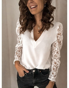 Women Fashion Lace Long Sleeve T-shirt V-neck Blouse Casual Ladies Tops Plus Size