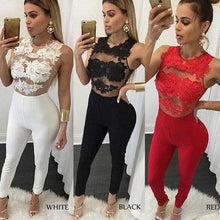 Load image into Gallery viewer, Women Summer Sleeveless Lace Bodycon Jumpsuit Romper See Through Party Trousers Pants Clubwear Playsuit