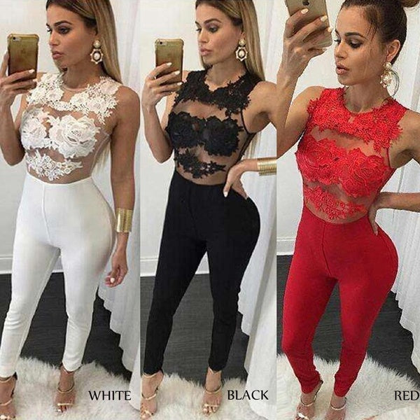 Women Summer Sleeveless Lace Bodycon Jumpsuit Romper See Through Party Trousers Pants Clubwear Playsuit