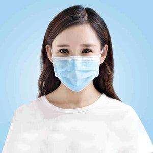 1~50 Pcs 3-Ply Disposable Face Mask, Dust Mask Flu Face Masks with Elastic Ear Loop for All People