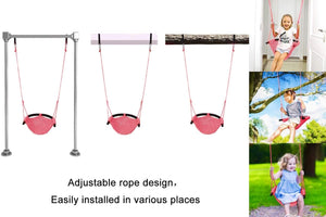 Swing Seat for Kids Heavy Duty Rope Play Secure Children Swing Set,Perfect for Indoor,Outdoor,Playground,Home,Tree,with Snap Hooks and Swing Straps,440 lbs Capacity Pink(Patent Pending)