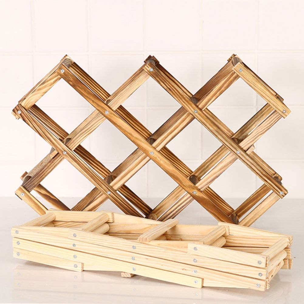 Wooden Wine Rack 3/6/10 Bottle Holder Folding Drink Bottle Bar Display Shelf