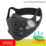 Sports Cycling Face Mask PM2.5 Anti-pollution Activated Carbon Half Face Shield Washable Mask with Filter Men Outdoor Accessories